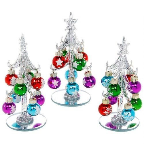 Small Silver Glass Christmas Trees with Bright Multi Coloured Baubles